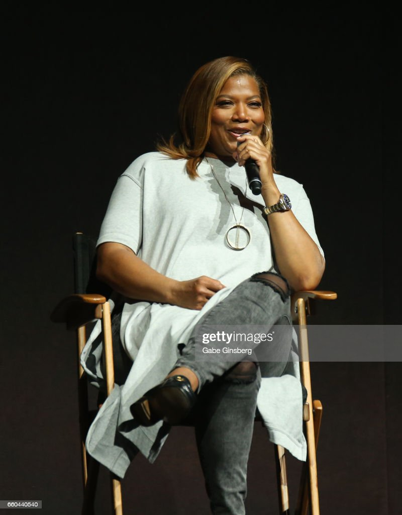 Actress Queen Latifah speaks at the Universal Pictures' presentation during CinemaCon at The Colosseum at Caesars Palace at on March 29, 2017 in Las Vegas, United States.