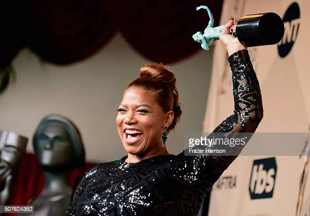Actress Queen Latifah winner of Outstanding Performance by a Female Actor in a Television Movie or Miniseries for 'Bessie' poses in the press room...