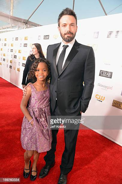 Actress Quvenzhané Wallis and actor/director Ben Affleck attend the 18th Annual Critics' Choice Movie Awards at Barker Hangar on January 10 2013 in...