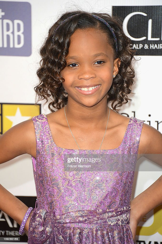 Actress Quvenzhané Wallis arrives at the 18th Annual Critics' Choice Movie Awards at Barker Hangar on January 10, 2013 in Santa Monica, California.