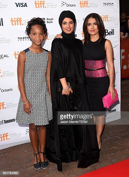 Actress Quvenzhané Wallis Fatima Alremaihi and actress Salma Hayek attend the Kahlil Gibran's The Prophet premiere during the 2014 Toronto...