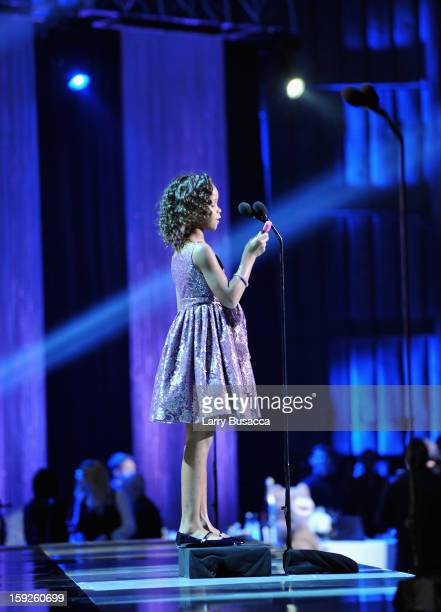 Actress Quvenzhane Wallis accepts the Best Young Actor/Actress Award for 'Beasts of the Southern Wild' onstage at the 18th Annual Critics' Choice...