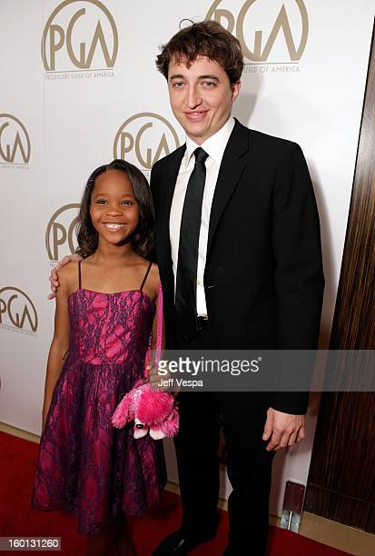 Actress Quvenzhane Wallis and director Benh Zeitlin arrive at the 24th Annual Producers Guild Awards held at The Beverly Hilton Hotel on January 26...