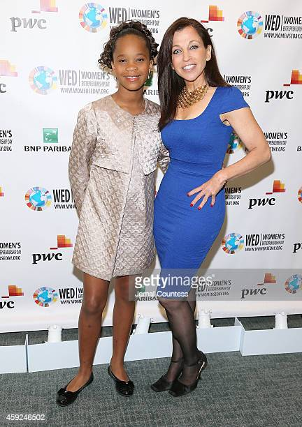 Actress Quvenzhane Wallis and Founder and CEO of Woman's Entrepreneurship Day Wendy Diamond attend the United Nations 2014 Women's Entrepreneurship...