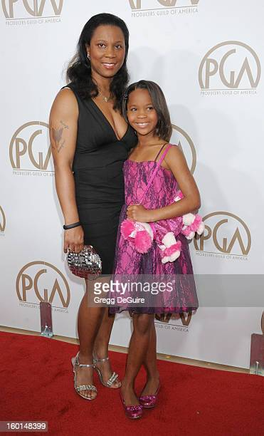 Actress Quvenzhane Wallis and mom Qulyndreia Wallis arrive at the 24th Annual Producers Guild Awards at The Beverly Hilton Hotel on January 26 2013...