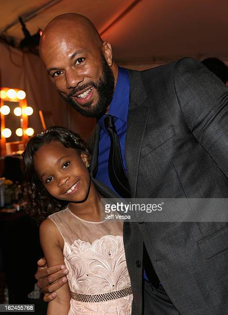 Actress Quvenzhane Wallis and rapper/actor Common attend the 2013 Film Independent Spirit Awards at Santa Monica Beach on February 23 2013 in Santa...