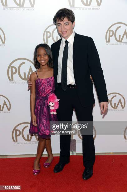 Actress Quvenzhane Wallis and writer/director Benh Zeitlin arrive at the 24th Annual Producers Guild Awards held at The Beverly Hilton Hotel on...