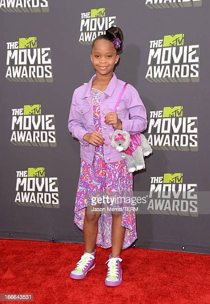 Actress Quvenzhane Wallis arrives at the 2013 MTV Movie Awards at Sony Pictures Studios on April 14 2013 in Culver City California
