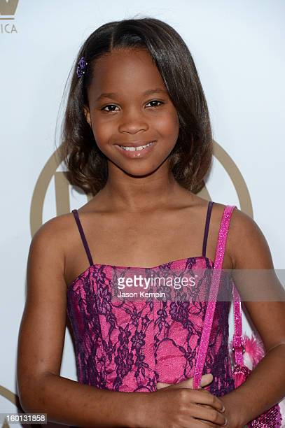 Actress Quvenzhane Wallis arrives at the 24th Annual Producers Guild Awards held at The Beverly Hilton Hotel on January 26 2013 in Beverly Hills...