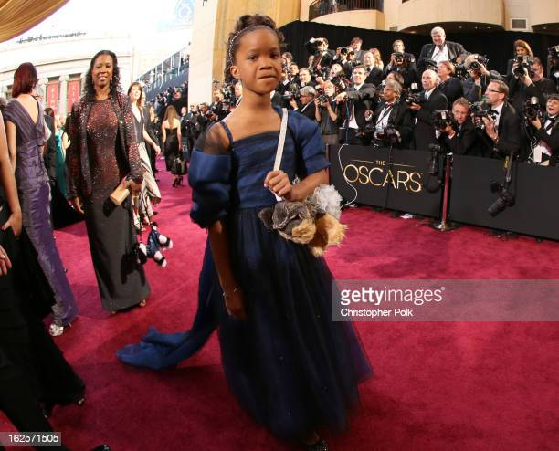 Actress Quvenzhane Wallis arrives at the Oscars held at Hollywood Highland Center on February 24 2013 in Hollywood California