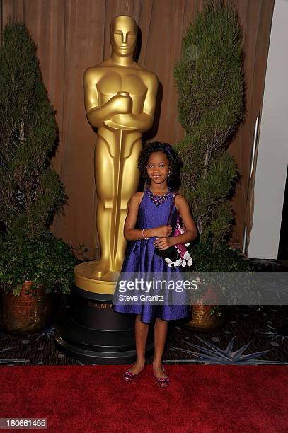 Actress Quvenzhane Wallis attends the 85th Academy Awards Nominations Luncheon at The Beverly Hilton Hotel on February 4 2013 in Beverly Hills...