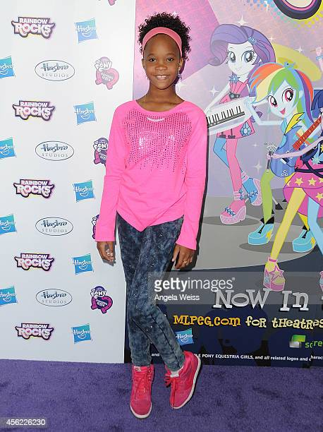Actress Quvenzhane Wallis attends the premiere of Hasbro Studios' 'My Little Pony Equestria Girls Rainbow Rocks' at TCL Chinese 6 Theatres on...