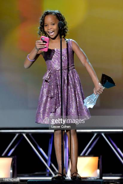 Actress Quvenzhane Wallis speaks onstage during the 18th Annual Critics' Choice Movie Awards at The Barker Hanger on January 10 2013 in Santa Monica...
