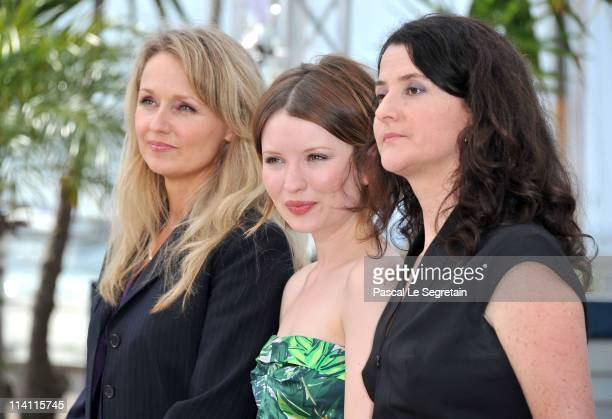 Actress Rachael Blake Emily Browning and director/writer Julia Leigh attend the 'Sleeping Beauty' photocall during the 64th Annual Cannes Film...