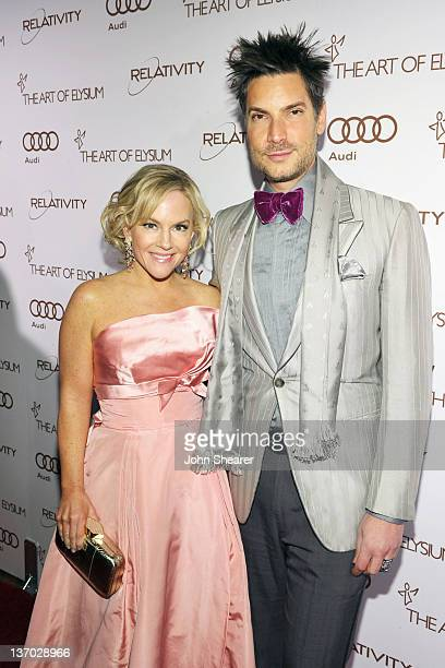 Actress Rachael Harris and Cameron Silver arrives at Audi presents The Art of Elysium's 5th annual HEAVEN at Union Station on January 14, 2012 in Los...