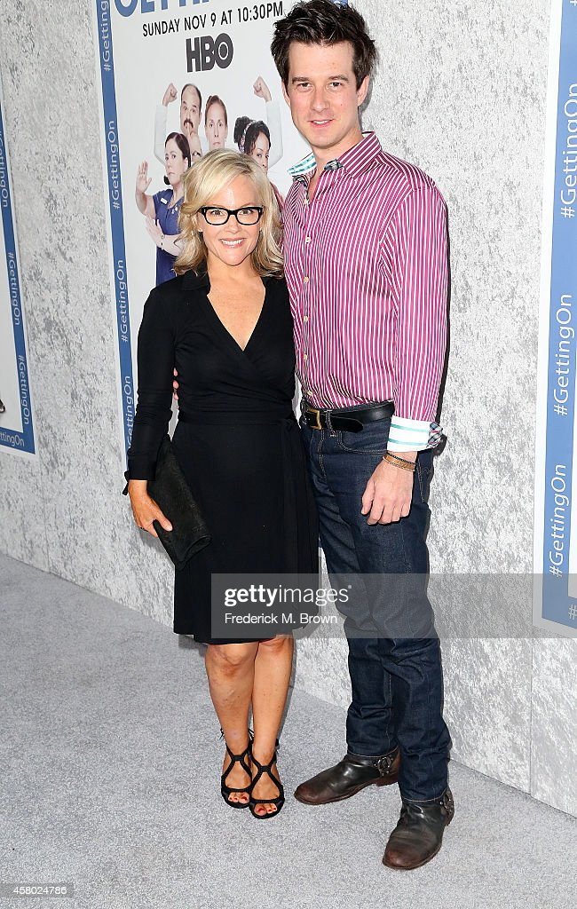 Actress Rachael Harris (L) and her guest attend the Premiere of HBO's 'Getting On' Season 2 at the Avalon on October 28, 2014 in Hollywood, California.