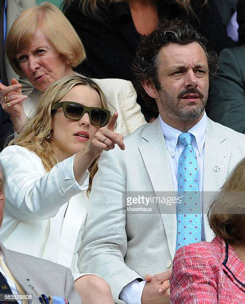 Actress Rachael McAdams and actor Michael Sheen in the Royal Box during the Ladies Singles Final match between Serena Williams and Agnieszka...