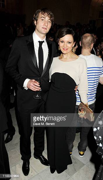 Actress Rachael Stirling and guest attend a postawards gala party following The Olivier Awards 2011 at The Waldorf Hilton Hotel on March 13 2011 in...