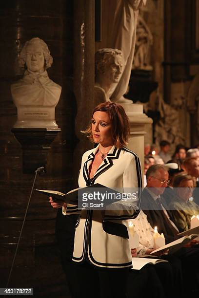 Actress Rachael Stirling delivers a speech during a candlelight vigil attended by the Duchess of Cornwall to mark the centenary of Britain's...