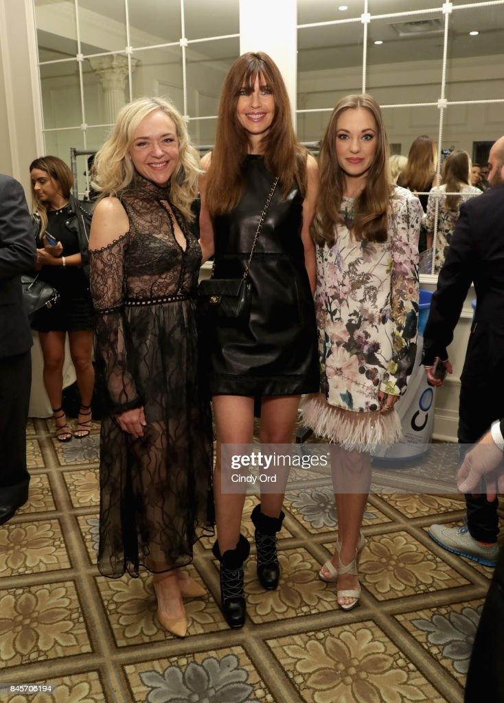Actress Rachel Bay Jones, model Carol Alt, and actress Laura Osnes backstage at Dennis Basso fashion show during New York Fashion Week: The Shows at The Plaza Hotel on September 11, 2017 in New York City.