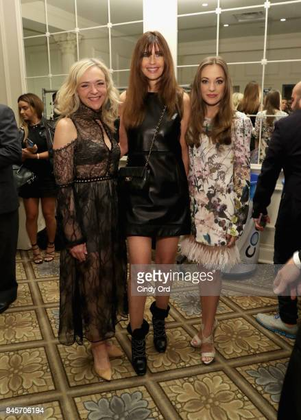 Actress Rachel Bay Jones model Carol Alt and actress Laura Osnes backstage at Dennis Basso fashion show during New York Fashion Week The Shows at The...