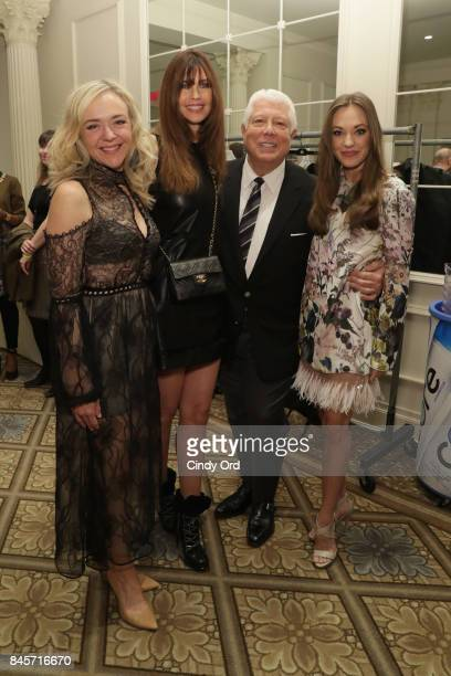 Actress Rachel Bay Jones model Carol Alt designer Dennis Basso and actress Laura Osnes backstage at Dennis Basso fashion show during New York Fashion...
