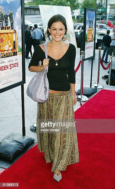 Actress Rachel Bilson arrives at the premiere of Fox Searchlight Pictures' Garden State on July 20 2004 at the Directors Guild in Los Angeles...