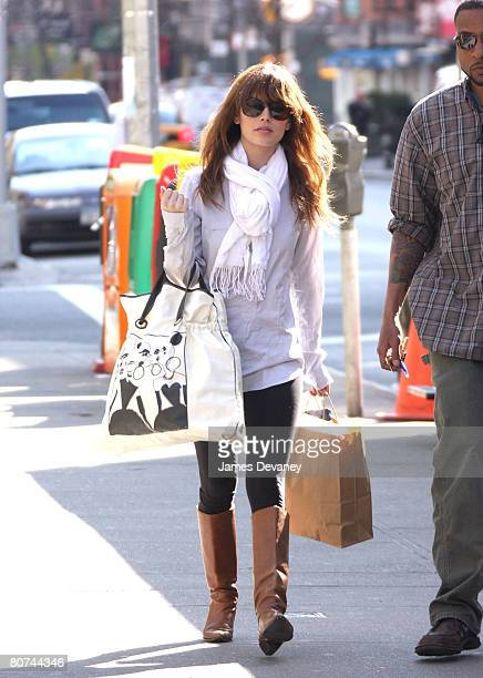 Actress Rachel Bilson filming on location for New York I Love You on April 16 2008 in New York City