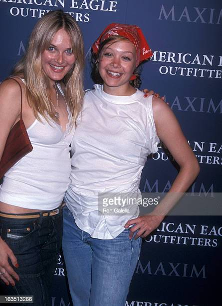 Actress Rachel Blanchard and actress Alexandra Holden attend the American Eagle Outfitters Showroom Grand Opening Celebration on June 27 2001 at...