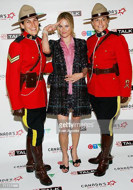 Actress Rachel Blanchard poses with Royal Canadian Mounted Police Mia Poscente and April Dequanne at Canada's Walk Of Fame Gala sponsored by Chanel...