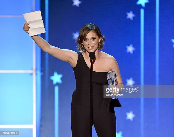 Actress Rachel Bloom accepts Best Actress in a Comedy Series award for 'Crazy ExGirlfriend' onstage during the 21st Annual Critics' Choice Awards at...