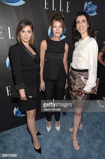 Actress Rachel Bloom ELLE editorinchief Robbie Myers and writer Aline Brosh McKenna attend the Women In Comedy event with July cover stars Leslie...