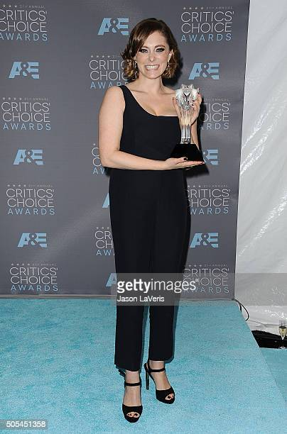Actress Rachel Bloom poses in the press room at the 21st annual Critics' Choice Awards at Barker Hangar on January 17, 2016 in Santa Monica,...