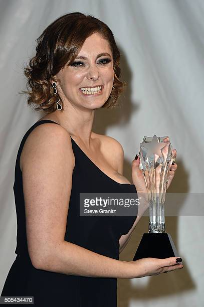 """Actress Rachel Bloom, winner of the award for Best Actress in a Comedy Series for """"Crazy Ex-Girlfriend,"""" poses in the press room during the 21st..."""