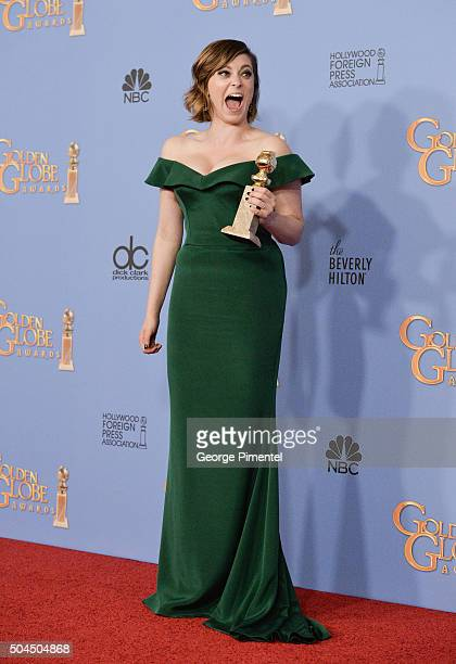 Actress Rachel Bloom, winner of the award for Best Performance by an Actress in a Television Series - Musical or Comedy for 'Crazy Ex-Girlfriend,'...