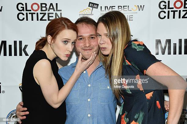 Actress Rachel Brosnahan Adam Butterfield and Justine Lucas US Country Director of The Global Poverty Project attend The Global Poverty Project...