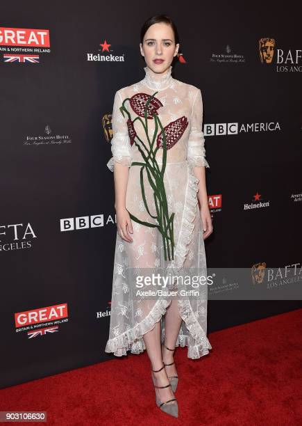Actress Rachel Brosnahan arrives at The BAFTA Los Angeles Tea Party at Four Seasons Hotel Los Angeles at Beverly Hills on January 6 2018 in Los...