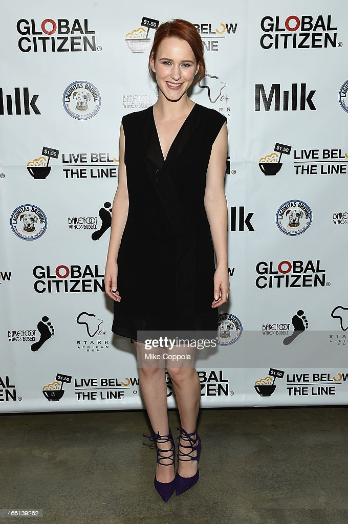 Actress Rachel Brosnahan attends The Global Poverty Project hosted 4th annual Live Below The Line launch party at Milk Studios on March 13, 2015 in New York City.