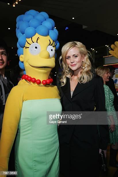 Actress Rachel Carpani arrives on the yellow carpet at The Simpsons Movie Australian premiere at Hoyts Entertainment Quarter Moore Park on July 24...