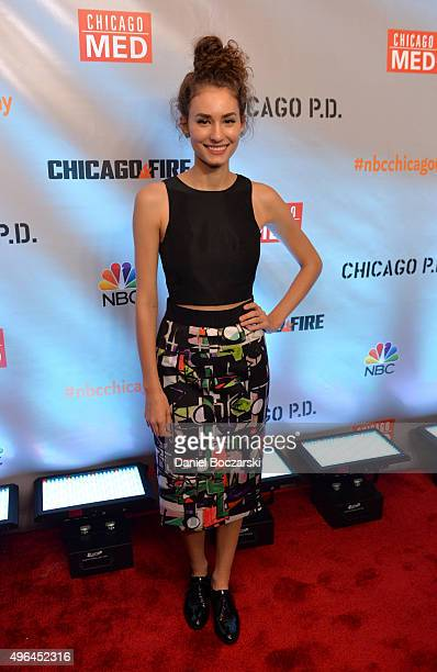 Actress Rachel DiPillo attends a press junket for NBC's 'Chicago Fire' 'Chicago PD' and 'Chicago Med' at Cinespace Chicago Film Studios on November 9...