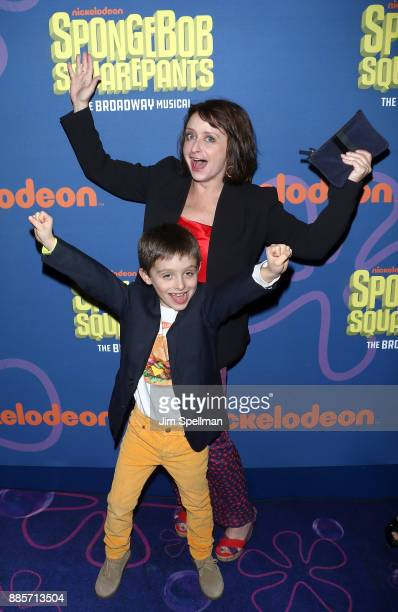 Actress Rachel Dratch and son attend the'Spongebob Squarepants' Broadway opening night at Palace Theatre on December 4 2017 in New York City