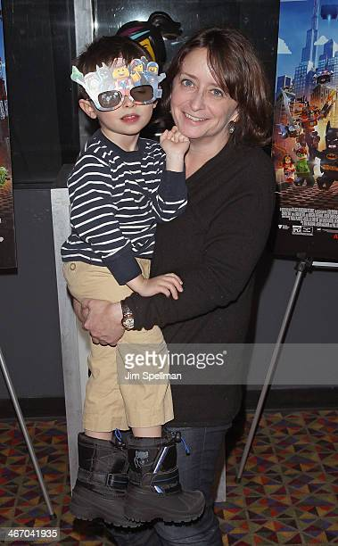 Actress Rachel Dratch and son Eli Benjamin Wahl attend the Warner Bros Pictures and Village Roadshow Pictures screening of The LEGO Movie at AMC...