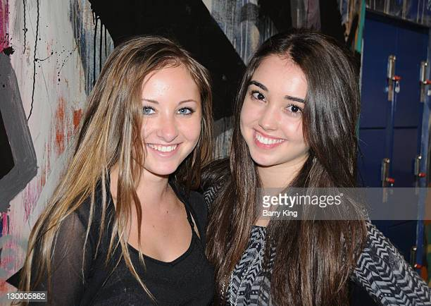 Actress Rachel G Fox and actress Cristina Cibrian attend Garrett Backstrom's 16th birthday celebration at Racer's Edge Indoor Karting on October 22...