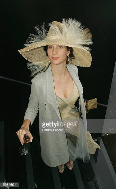 Actress Rachel Griffith at the Moet et Chandon marquee attends The Melbourne Cup at Flemington Racecourse November 2 2004 in Melbourne Australia