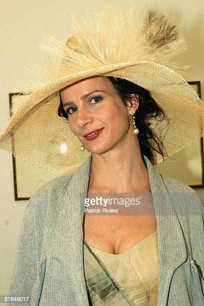 Actress Rachel Griffith poses at the Moet et Chandon marquee attends The Melbourne Cup at Flemington Racecourse November 2 2004 in Melbourne Australia