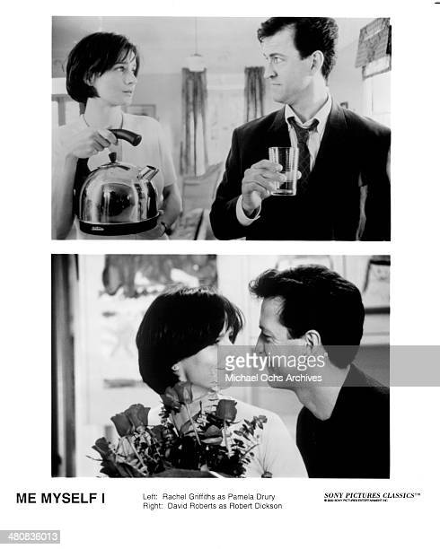 Actress Rachel Griffiths and actor David Roberts on set in a scene from the movie Me Myself I circa 1999