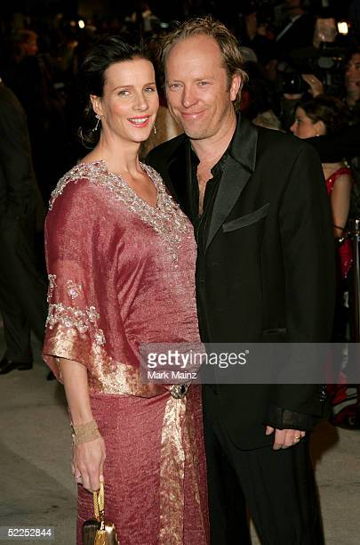 Actress Rachel Griffiths and her husband Andrew Taylor arrive at the Vanity Fair Oscar Party at Mortons on February 27 2005 in West Hollywood...