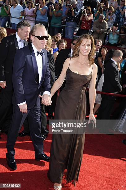 Actress Rachel Griffiths and husband Andrew Taylor arrive at the 60th Primetime Emmy�� Awards held at the Nokia Theatre