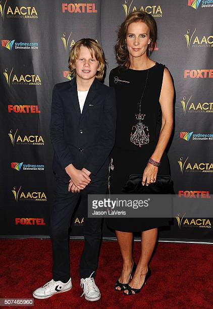 Actress Rachel Griffiths and son Banjo Taylor attend the AACTA International Awards at Avalon Hollywood on January 29 2016 in Los Angeles California