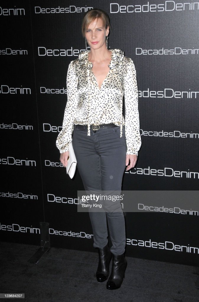 Actress Rachel Griffiths arrives at Decades Denim Launch Party at a private residence on November 2, 2010 in Beverly Hills, California.